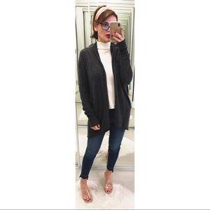 Tahari 2 Ply Cashmere Open Cardigan in Gray